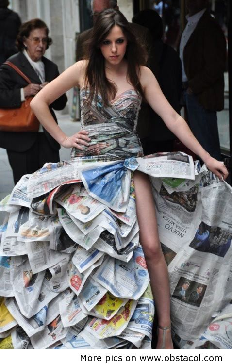 dress made with news papers -dressing
